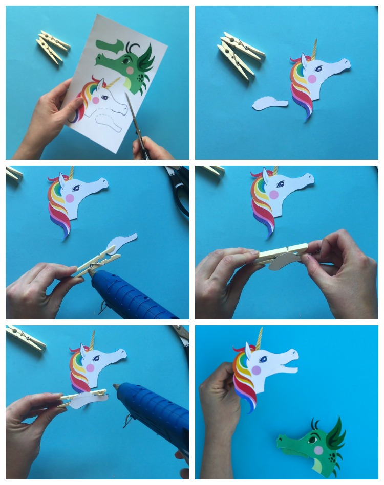 dragon and unicorn clothespin puppets with free printable. Black Bedroom Furniture Sets. Home Design Ideas