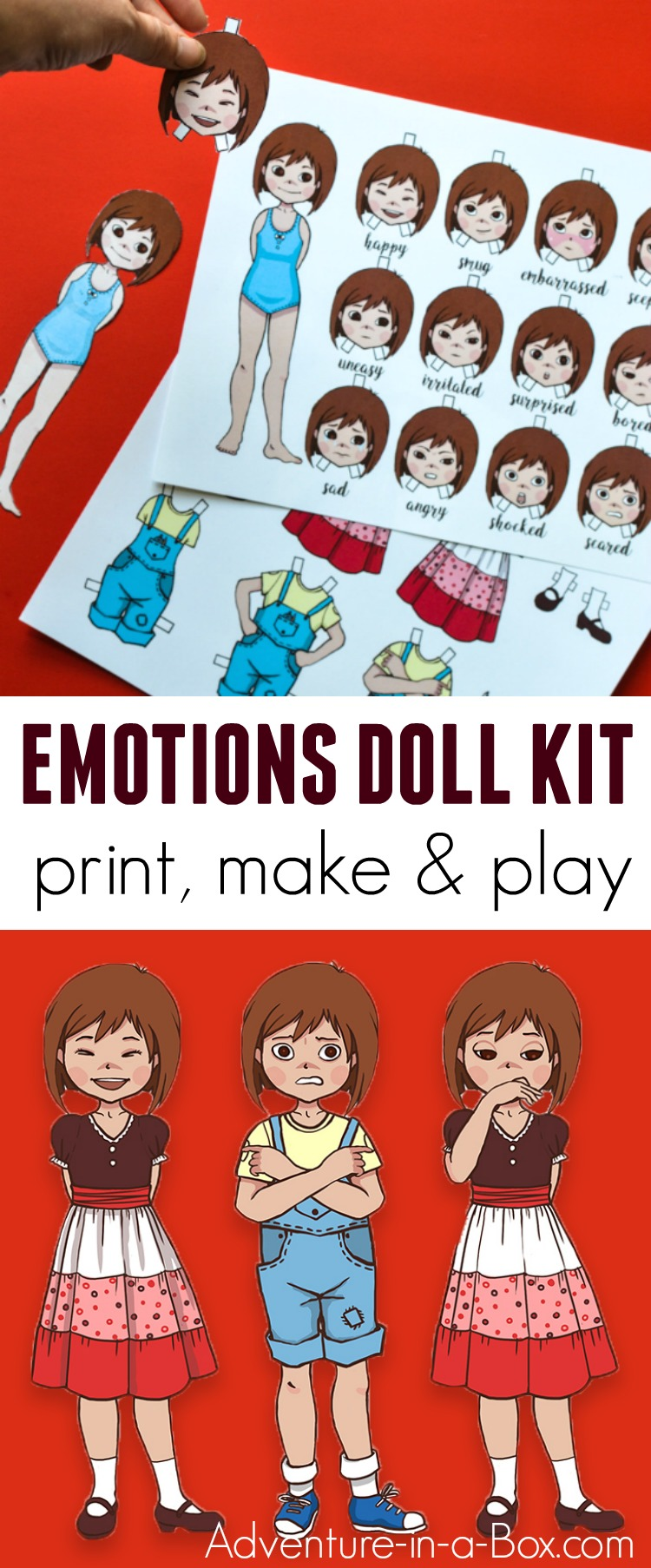 Instead of dresses, the printable dress-up paper doll changes poses and expressions to convey a wide array of emotions and teach children to successfully read other people's body language. In addition to that, it's a fun storytelling prompt and a simple paper craft to make! #homeschool #emotions #papercraft #paperdoll