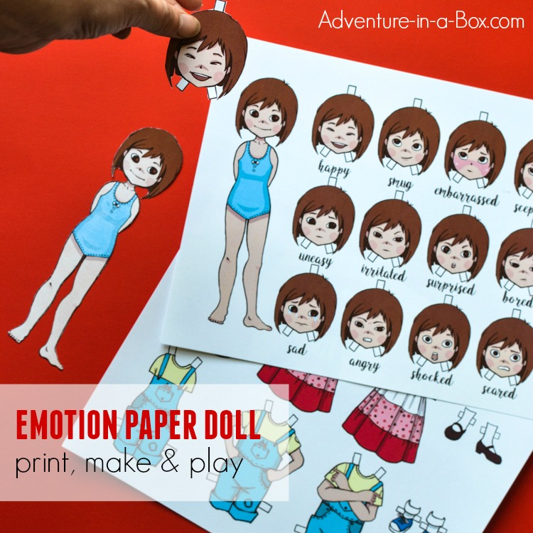Instead of dresses, the printable dress-up paper doll changes poses and expressions to convey a wide array of emotions and teach children to successfully read other people's body language. In addition to that, it's a fun storytelling prompt and a simple craft to make!