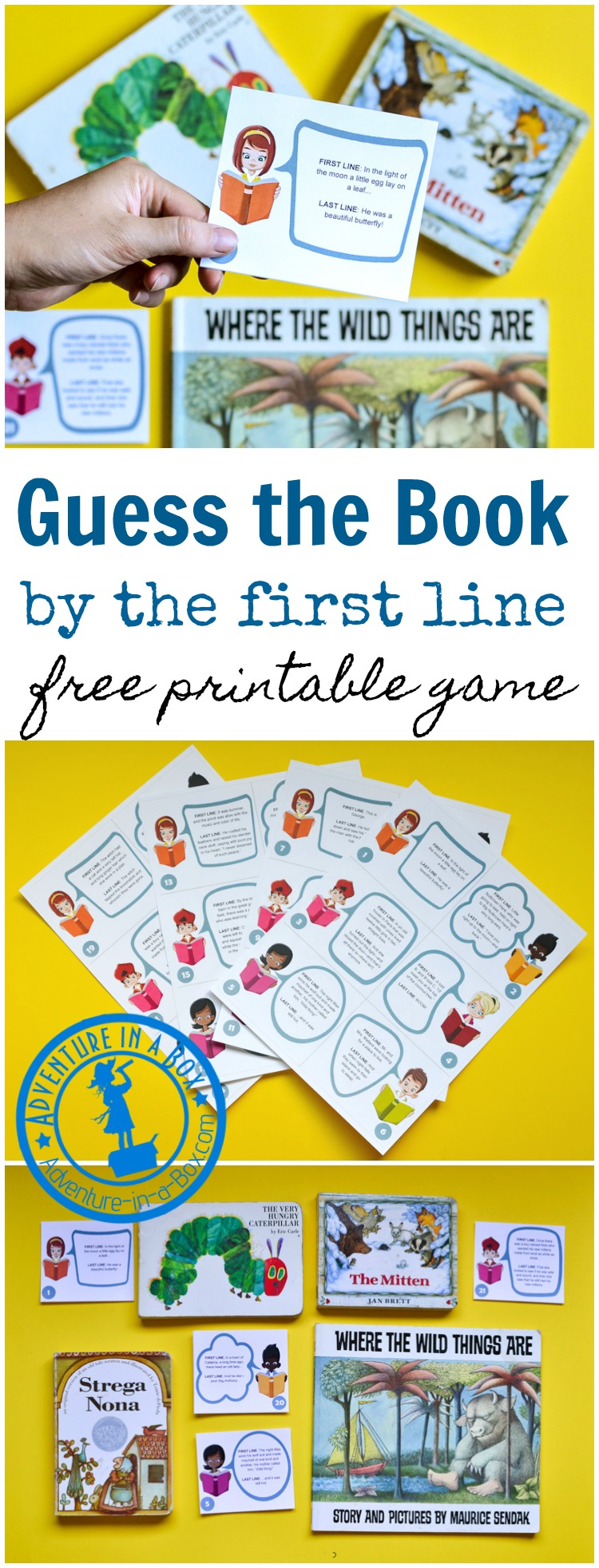 Guess the Picture Book by the First Line is a free printable game about books for kids who like to read, their parents, teachers and librarians. Discuss the concepts of titles and authorship, beginnings and endings, and reminisce over favourite old books. Great boredom buster for book lovers! #books #booklover #preschool #homeschool #printablegame