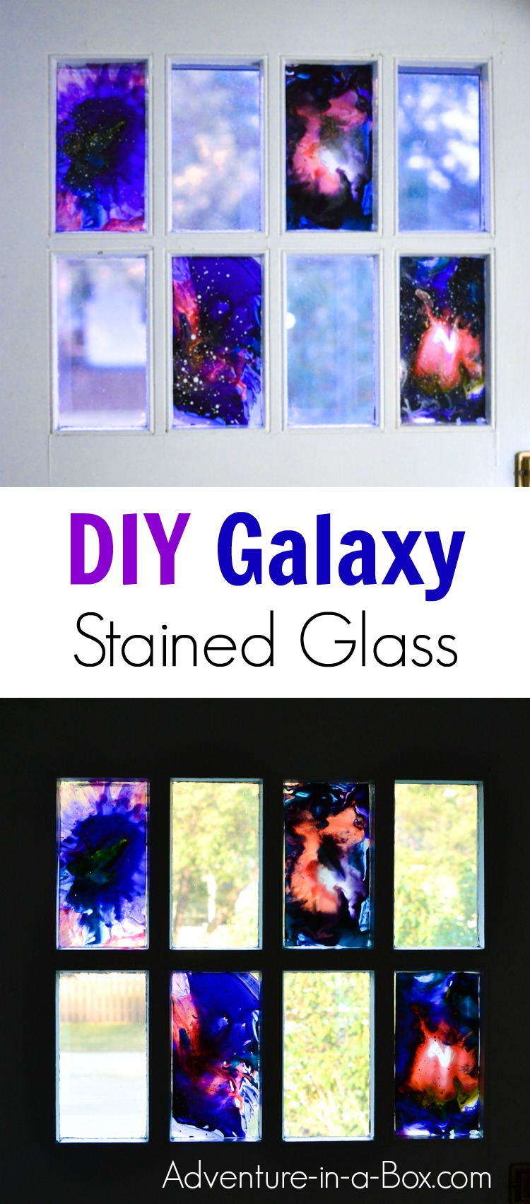 Learn how to paint space with stained glass paints in a simple way! This technique works for creating beautiful abstract wall art anddecorating craft projects.