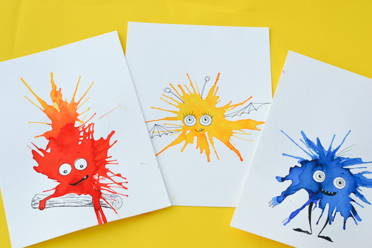 friendly monster watercolour blow art with straws ghost clipart images ghost clipart images