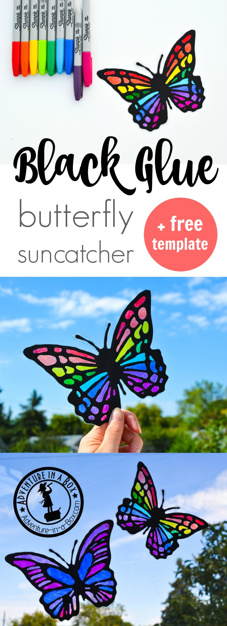 Want to make a cheery butterfly suncatcher craft with kids? It's easy if you make black glue and have on hand some sharpie markers and recyclables.