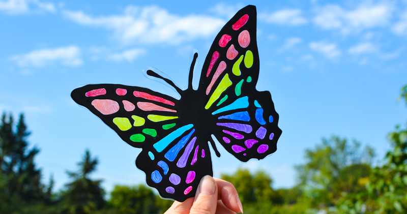 Black Glue & Sharpies Butterfly Suncatcher