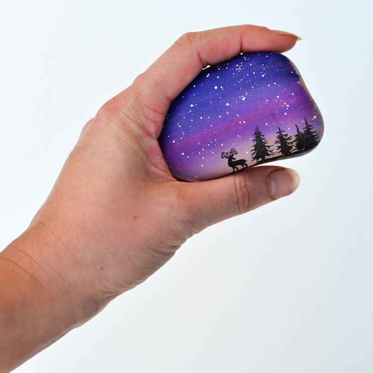 Magical Landscape Silhouette Painted Rocks For A Rock Hunt Adventure In A Box
