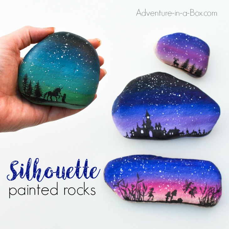 Decorate rocks with elegant landscape silhouettes drawn over the starry twilight sky! Simple rock painting technique that even kids can use.