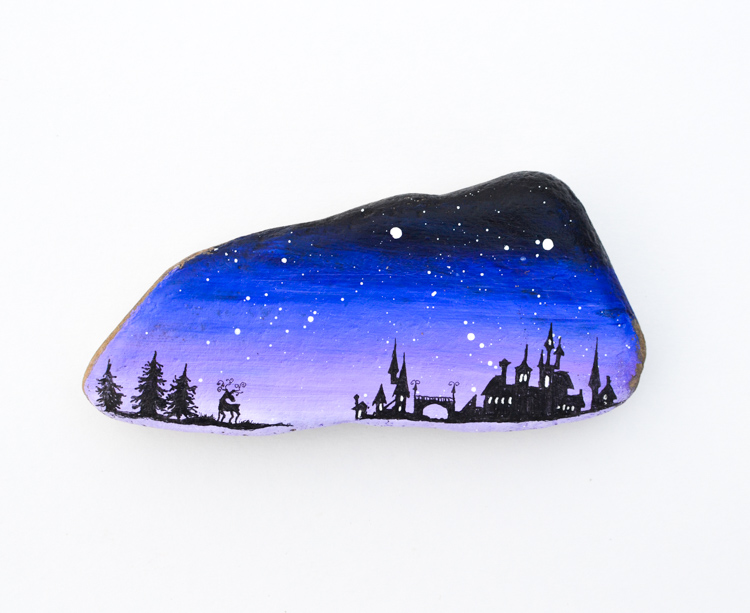 Magical Landscape Silhouette Painted Rocks for a Rock Hunt