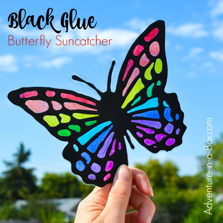 Make a vibrant butterfly suncatcher with kids! A great summer craft that requires very few materials!