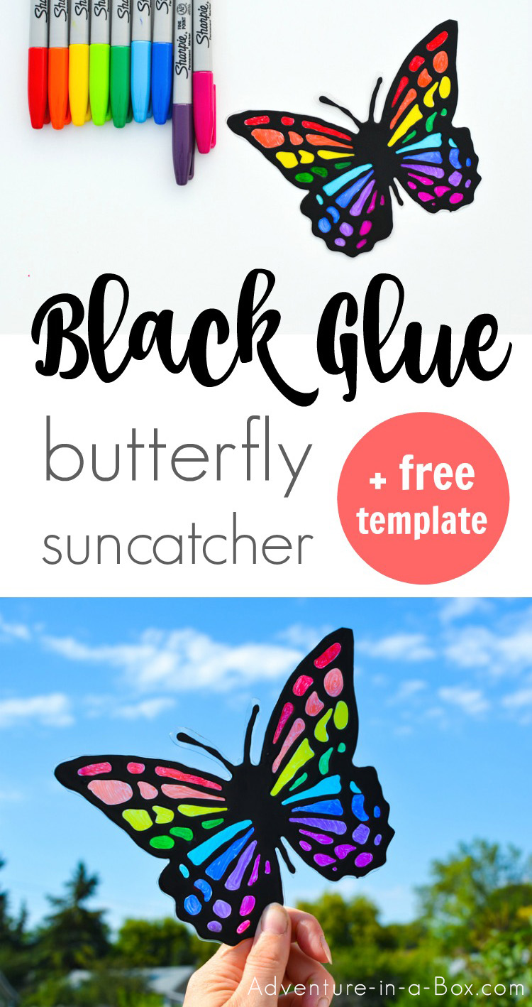 Make a vibrant butterfly suncatcher with kids! A great summer craft that requires very few materials! #summercraft #kidscrafts #suncatcher #butterfly
