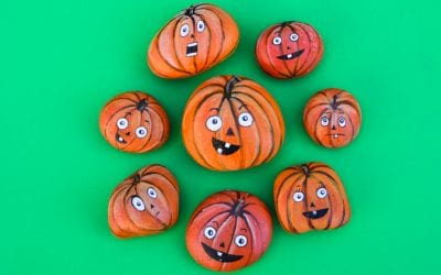 Painted Jack-o-Lantern Pumpkin Rocks