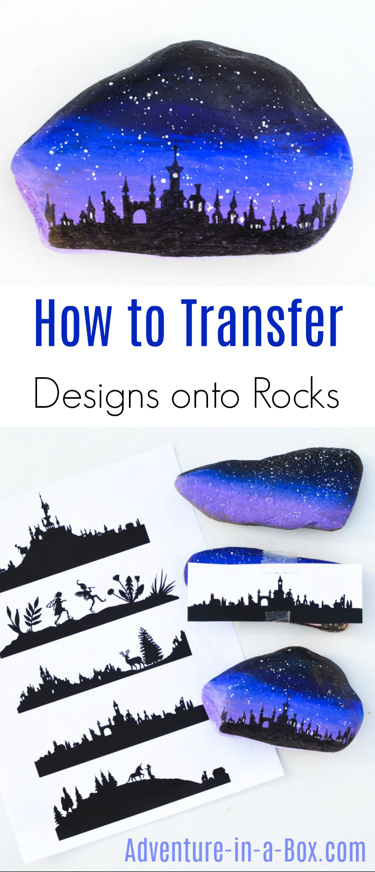 Do you like painting rocks, but cannot draw an intricate silhouette design directly on it? Try one of these three ways to transfer pictures onto rocks!