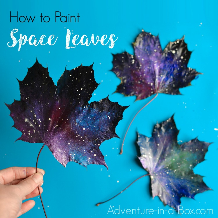 Have you tried painting leaves? It's a very simple autumn art project. These space leaves look as if they blew in on a cosmic wind.