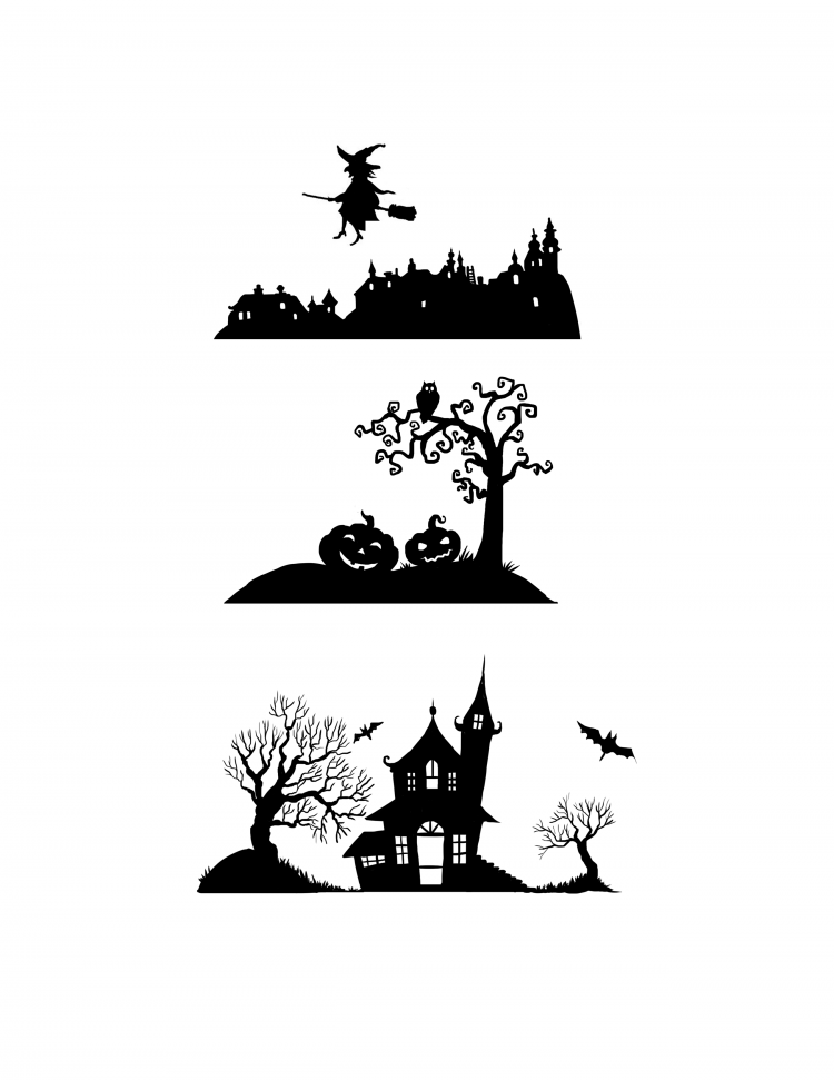 image relating to Witch Silhouette Printable known as Silhouette Rock Halloween Layouts: Printable Pack