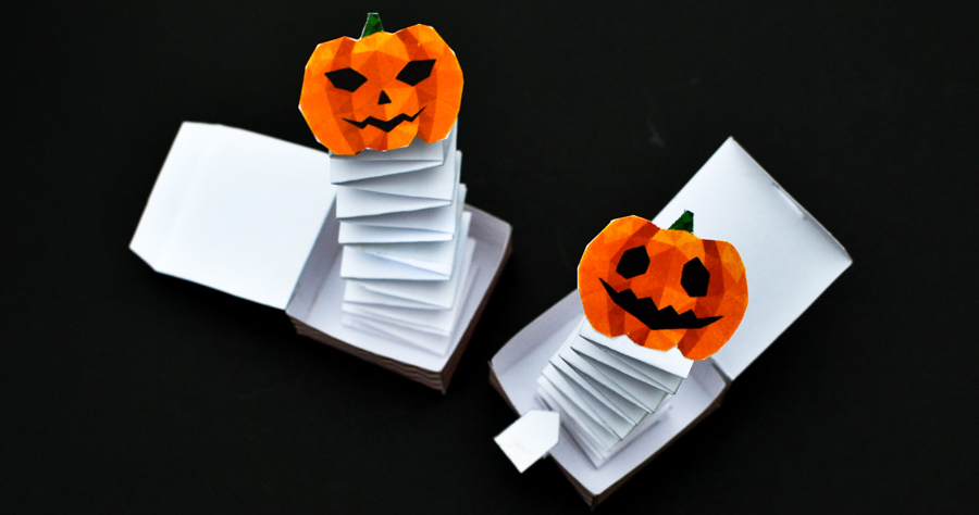 photo regarding Halloween Crafts for Kids+free Printable named Jack inside the Box Paper Toy with a Absolutely free Printable Template
