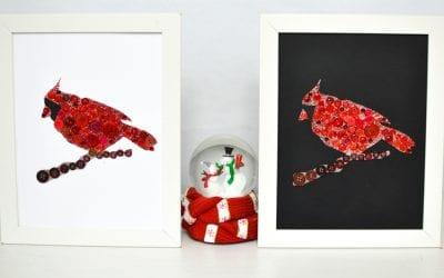 Cardinal Button Craft for Kids