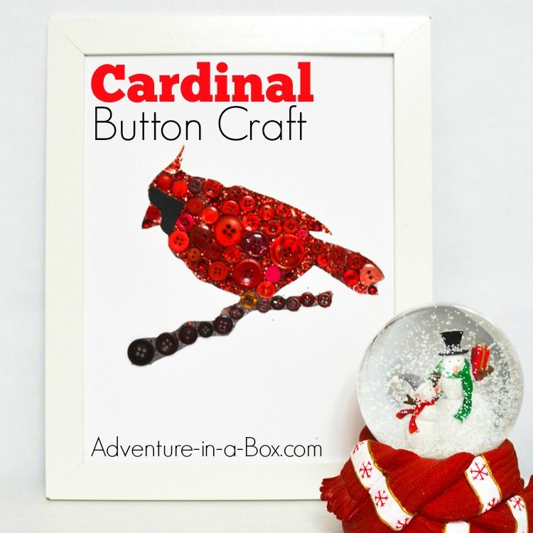 Cardinal Button Craft: A fun and easy Christmas craft featuring a cardinal bird for kids to make and gift or add to your home décor!