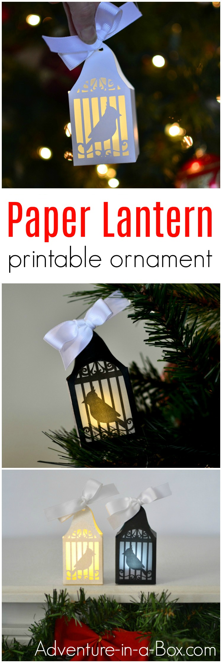 Make a paper lantern ornament from a printable design to put on a Christmas tree or display as a lantern!