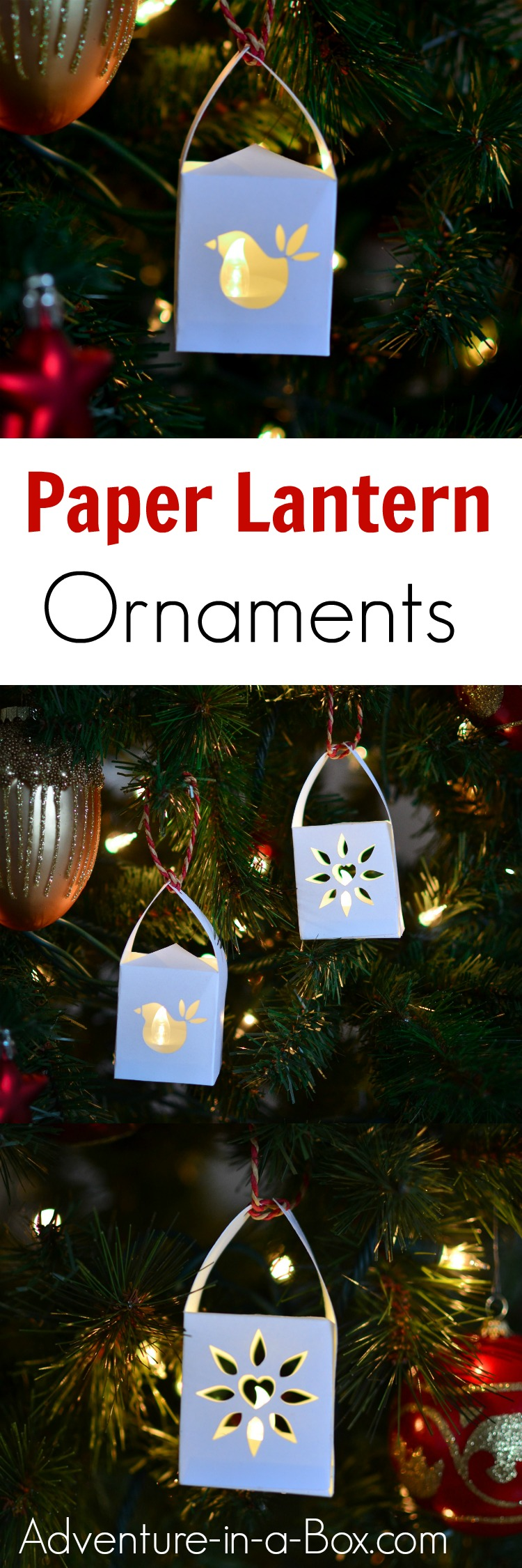 Add even more glow to your Christmas tree with these handmade paper lantern ornaments that have an LED light inside! Printable templates available to make it a very easy craft.