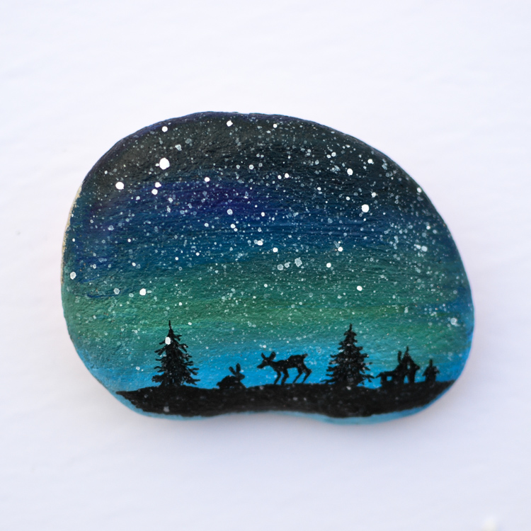 photo about Printable Designs known as Xmas Silhouette Painted Rocks: Printable Ideas