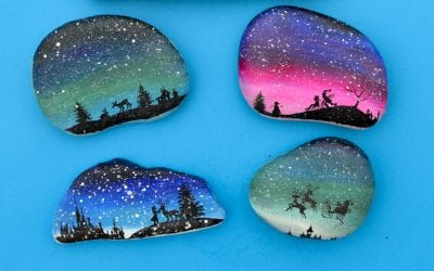 Christmas Silhouette Painted Rocks with Printable Designs