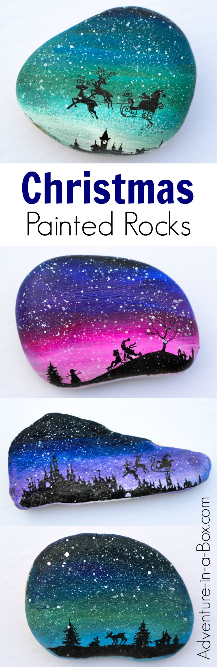 Decorate rocks with magical Christmas silhouettes and a snowy sky! Santa Claus in a sleigh, reindeer, a winter forest and children playing in the snow - it's a great selection for a festive rock painting project.