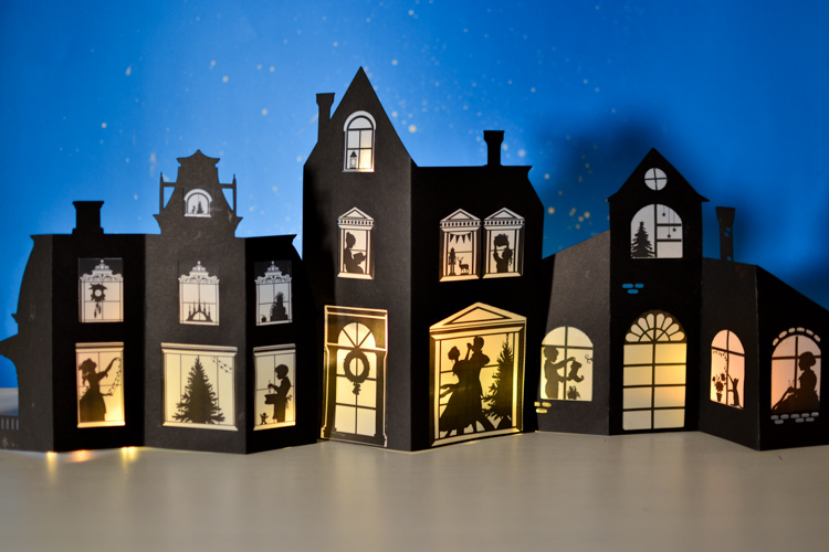 photograph about House From Up Printable called Silhouette Xmas Village with Printable Options