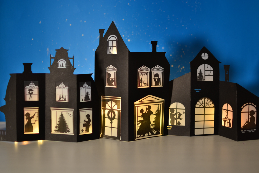photograph regarding Printable Christmas Village Template called Silhouette Xmas Village: Printable Template