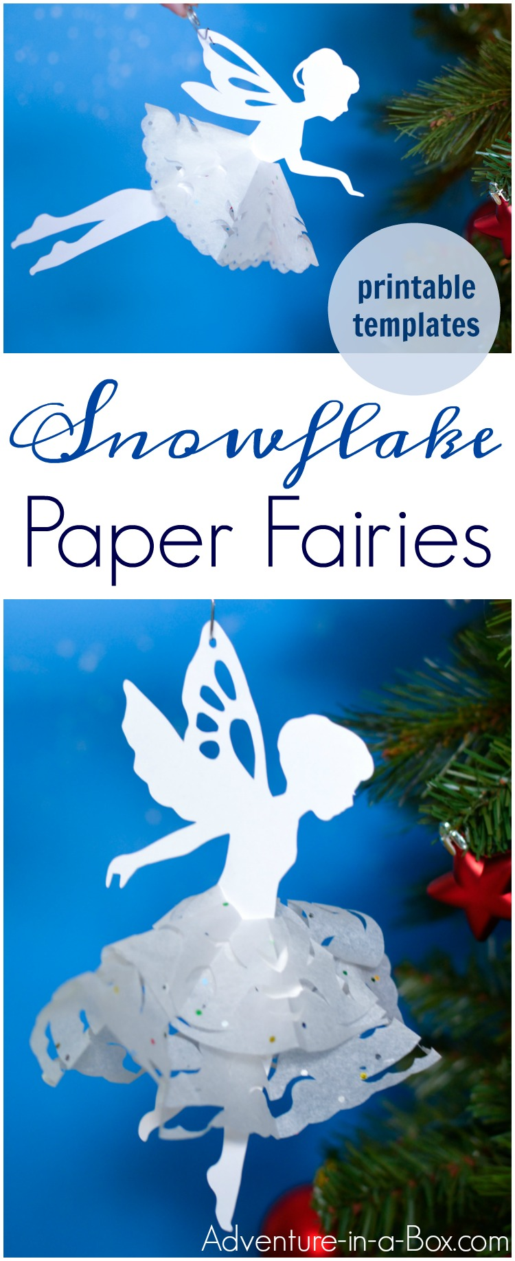 If you like cutting snowflakes out of paper, make a paper snowflake fairy with our free printable template!