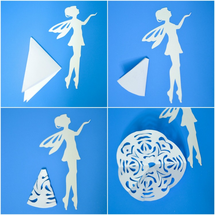 How to cut a paper snowflake to make a skirt for a fairy