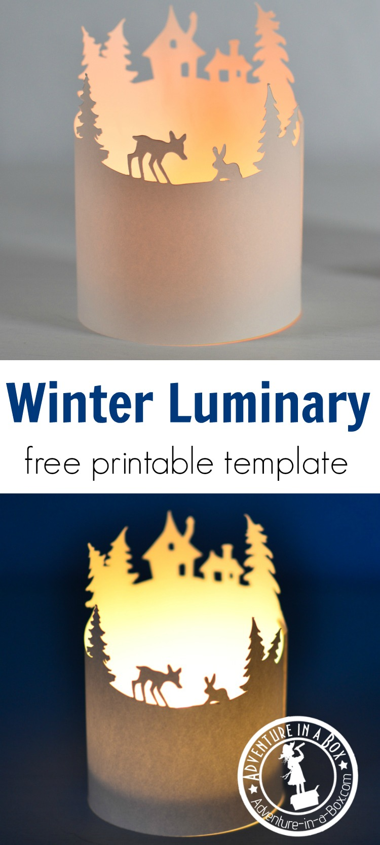 Make a handmade winter luminary with a free printable template. A quick and simple craft for a Christmas break.