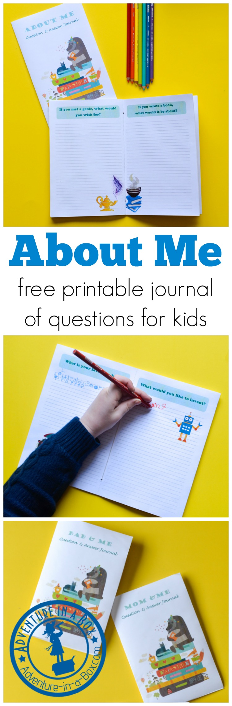 This free printable journal of questions for kids is filled with creative writing prompts and will help reluctant writers to create a book about themselves.