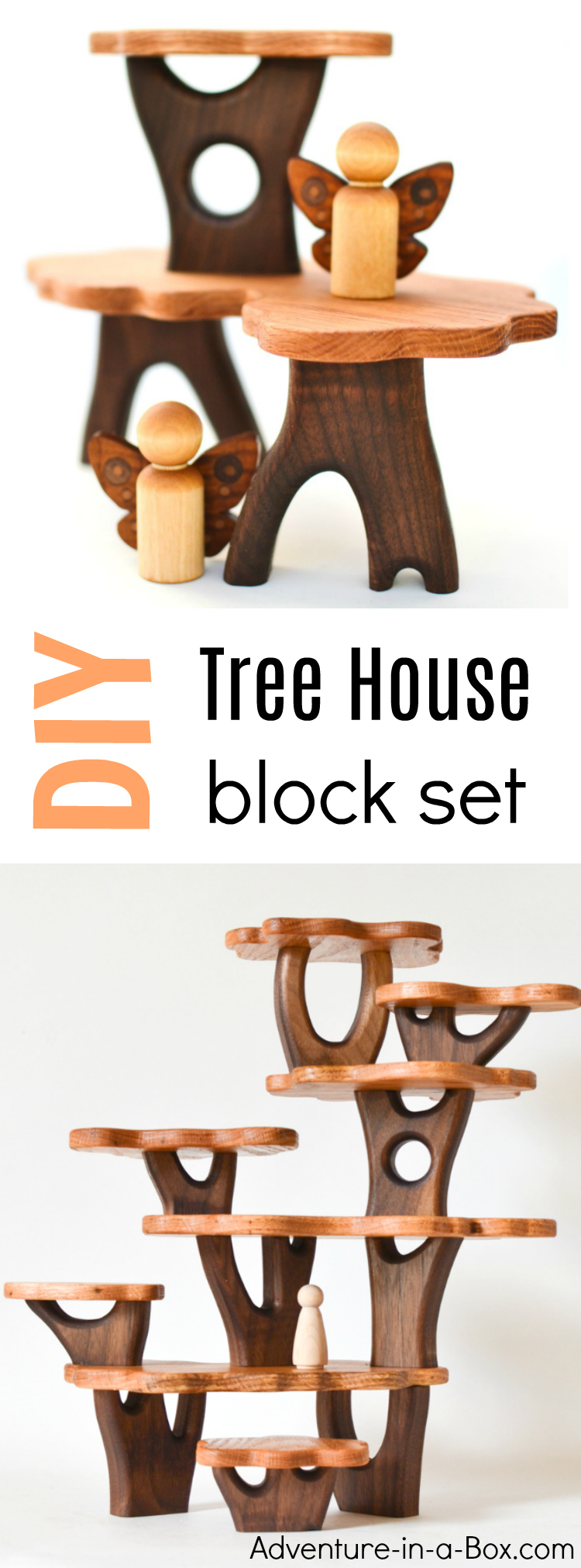 These handmade tree house blocks open new opportunities for block play, allowing children to create natural-looking constructions and multi-levelled tree houses for fairies and forest creatures to settle in. Great for Waldorf environment and any nature lover!