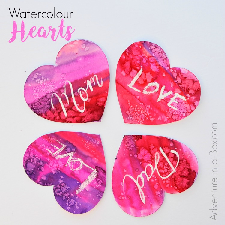 Use resist to make personalized watercolour hearts for Valentine's Day or Mother's Day. The craft is surprisingly easy and fun for kids!