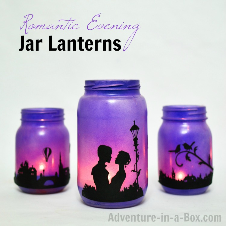 Upcycle mason jars and turn them into a set of lanterns with romantic printable silhouettes set against the background of a purple sky at twilight. Perfect for atmospheric decor, for a date-at-home, Valentine's Day, or a wedding!