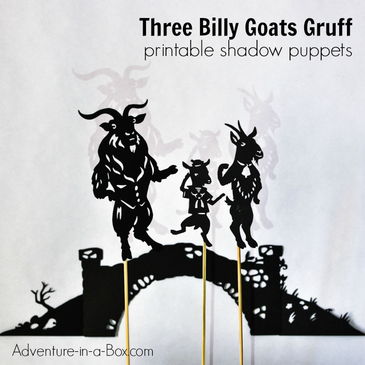 Three billy goats gruff shadow puppet play with for Free shadow puppet templates