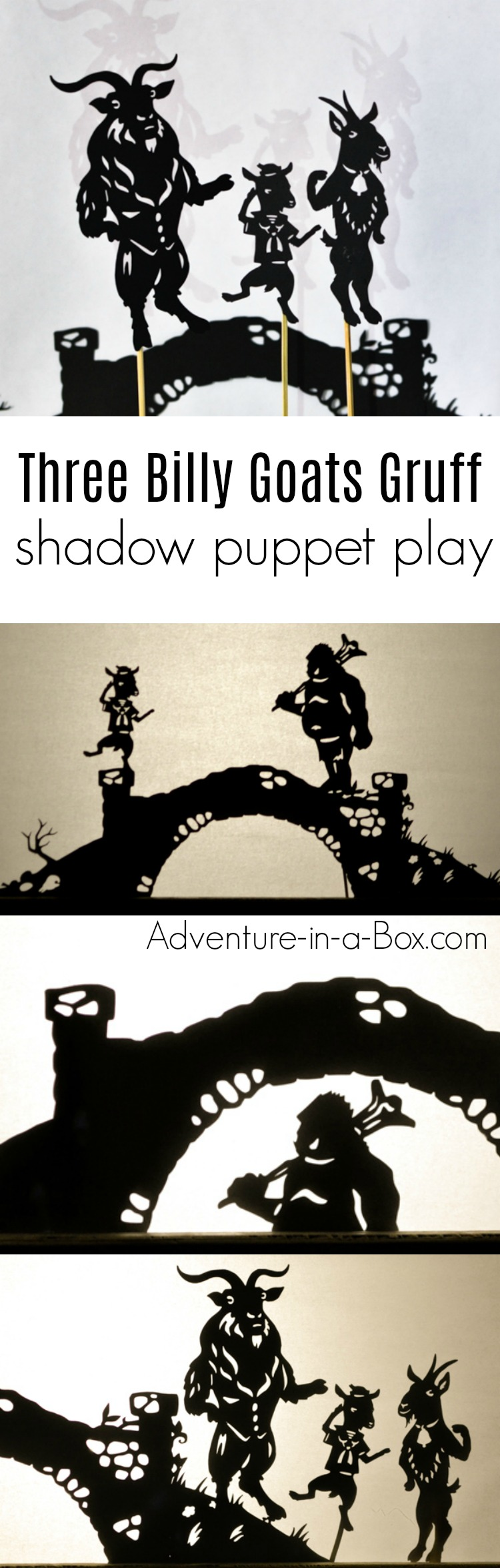 Based on the Norwegian fairy-tale, these printable shadow puppets will let your kids make their version of Three Billy Goats Gruff and stage a shadow play at home or in the classroom!