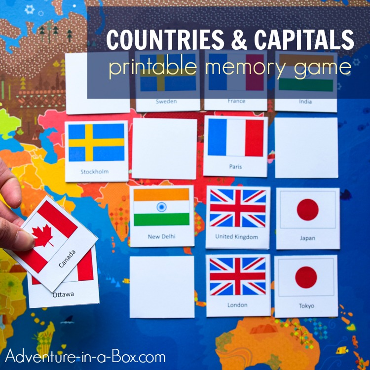 flags of the world bingo printable game for kids adventure in a box