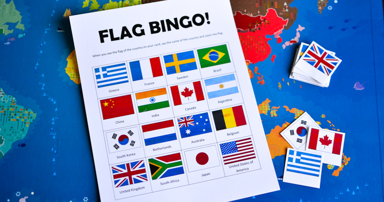 Flags of the World Bingo: Printable Game for Kids