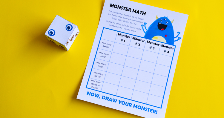 Monster Math: Printable Game of Art and Numbers for Kids