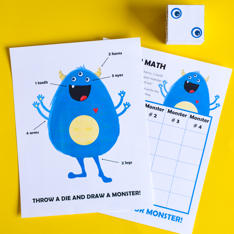 Monster Math: Printable Game of Art and Numbers for Kids | Adventure ...