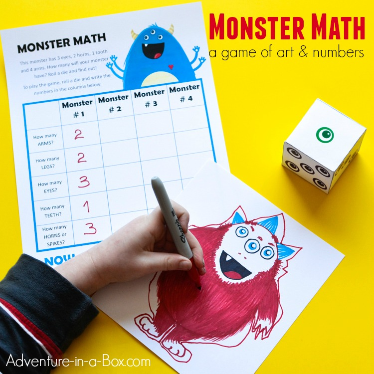 Monster Math: Free Printable Math Game