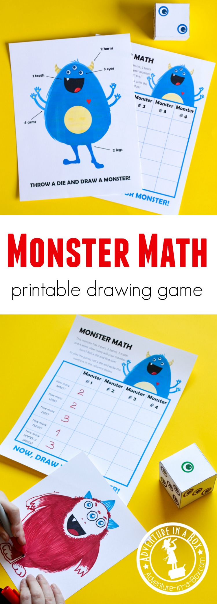 Monster Math is a printable game that challenges children to draw while working on simple math - counting, number writing and recognition. Roll a die and see what kind of monster you will draw. Most suitable for teaching math at #preschool and #kindergarten. #homeschool #mathactivity #homeschooling #printablegame