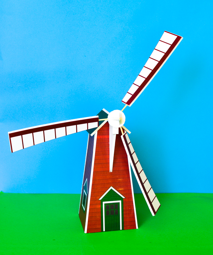 Windmill model: printable template | adventure in a box.