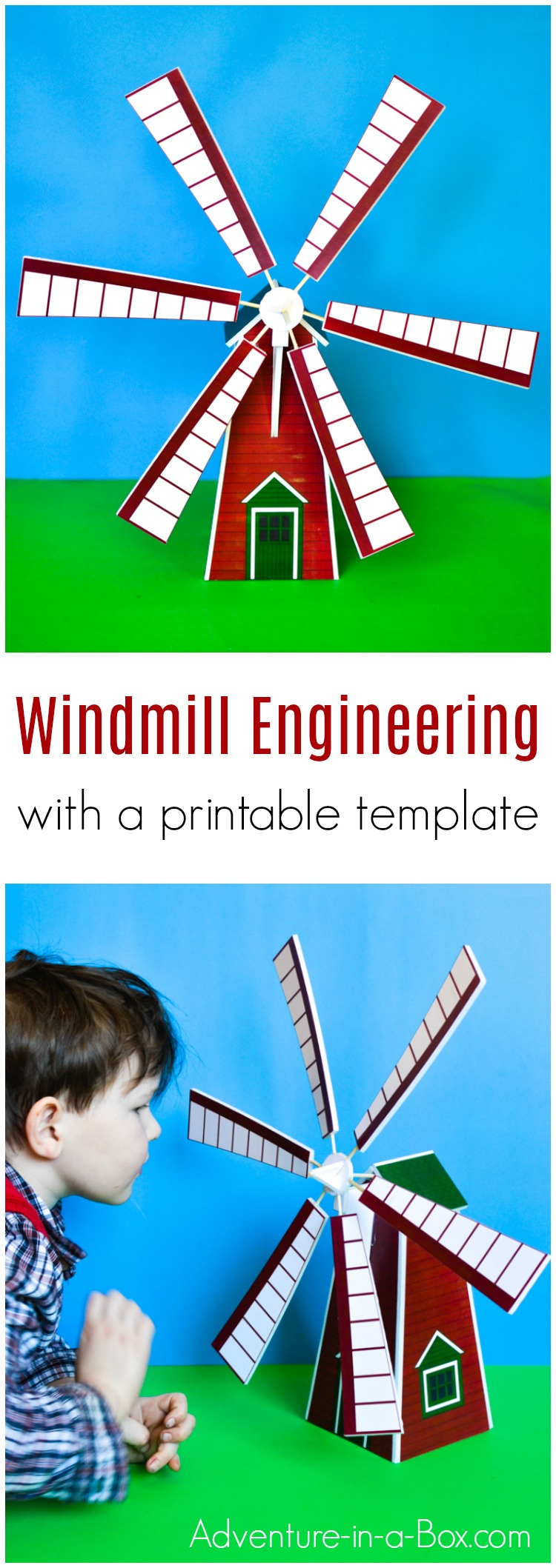 Make a windmill model and hold a scientific study with children! With a printable template, building your own toy windmill is a quick and easy STEM craft. #stem #stemforkids #stemcrafts #kidcrafts