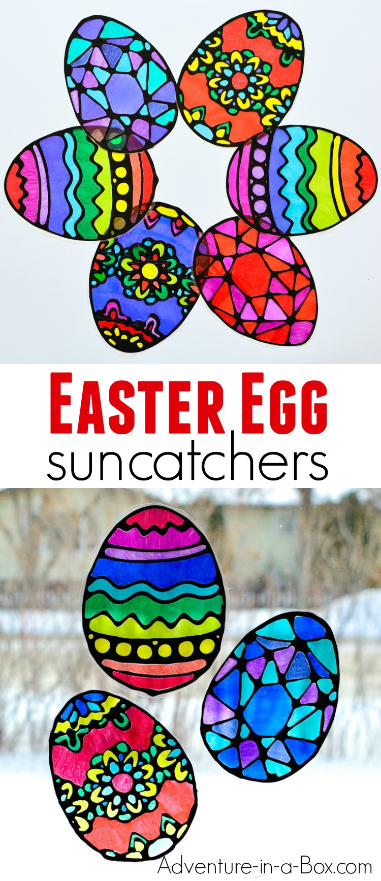 Make stained glass Easter egg suncatchers with kids! This craft comes with four free printable Easter egg designs and makes for a quick and easy way to decorate windows for Easter.