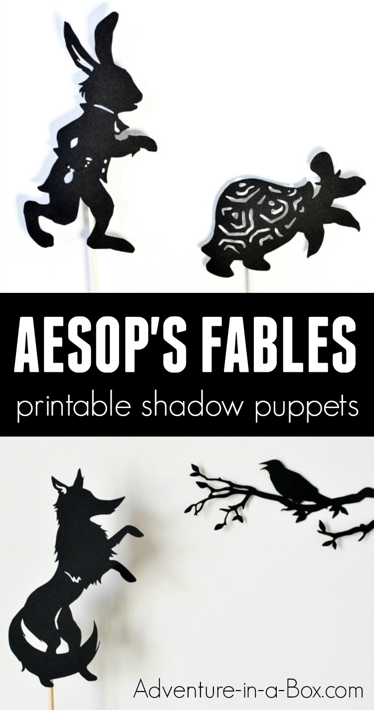 Based on Aesop's fables, these printable shadow puppets will let your kids make their version ofthree fables (Hare and Tortoise, Fox and Crow, and Fox and Crane)and stage a shadow play at home or in the classroom! #puppets #homeschool #earlyliteracy #kidsactivities #preschool