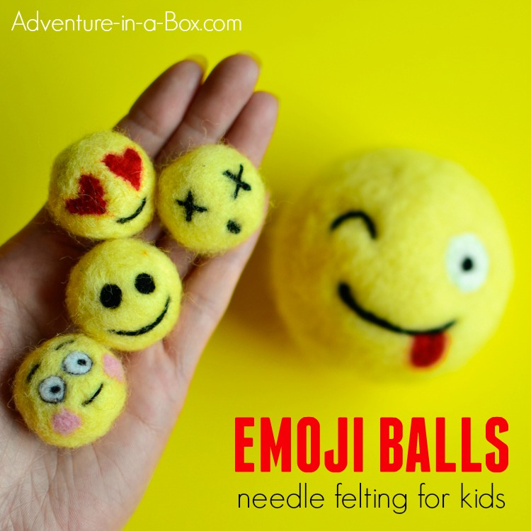 If you want to try a new craft with older kids and tweens, consider needle felting! Using pompoms, wool and felting needles, they will create a cute woollen emoji craft that can later be used for decorating backpacks.