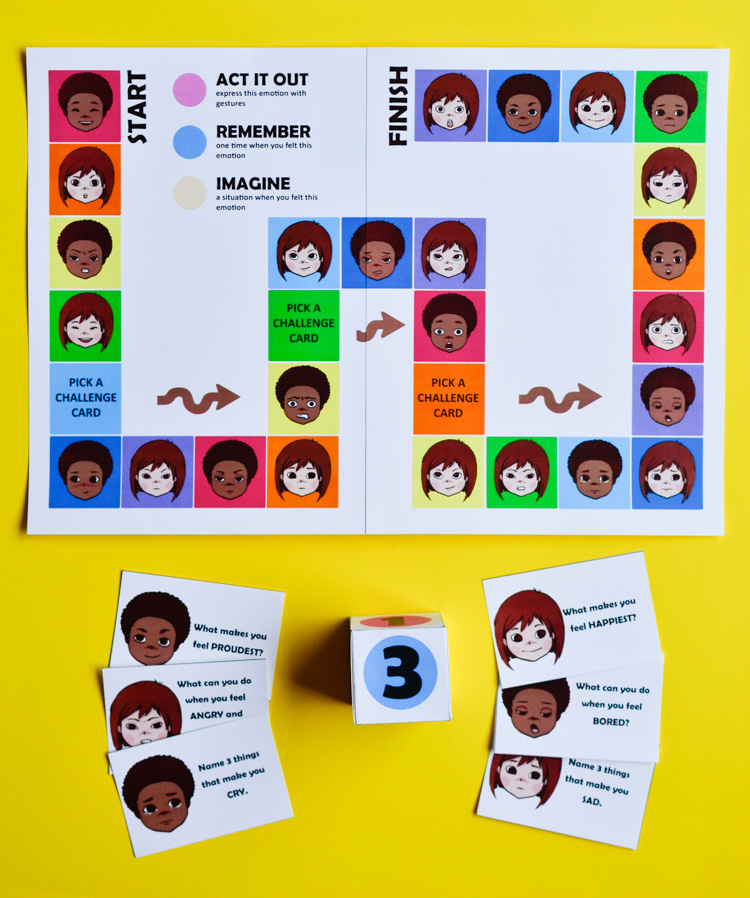graphic relating to Printable Emotions Cards titled Printable Board Recreation for Youngsters in the direction of Discover pertaining to Feelings