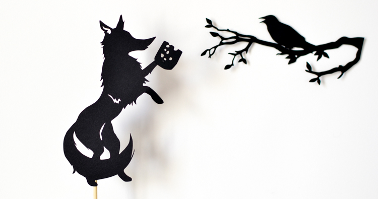 Aesop's Fables Shadow Puppets: Hare and Tortoise, Fox and Crow + Fox and Crane