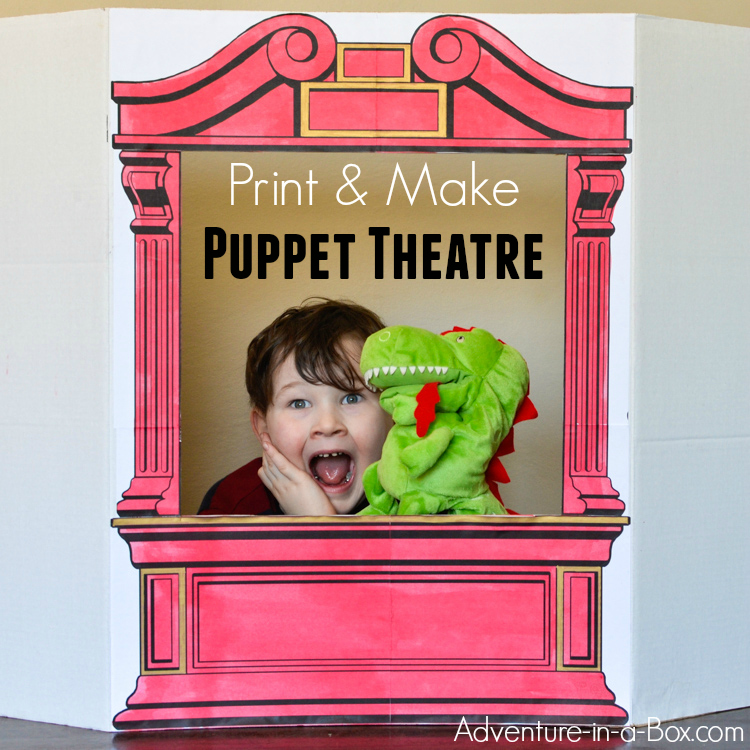 Print our puppet theatre pattern, then make a simple cardboard puppet theatre for your home or classroom! Kids will love colouring and customizing it before giving a performance with their favourite puppets.
